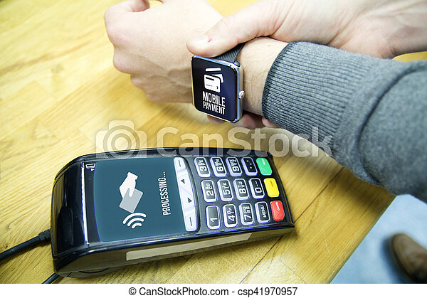 Customer using a smart watch to pay. All graphics are made up