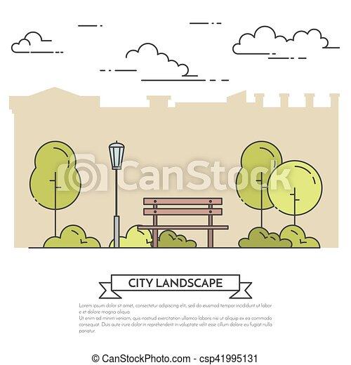 Bench with Park Landscape Clip Art