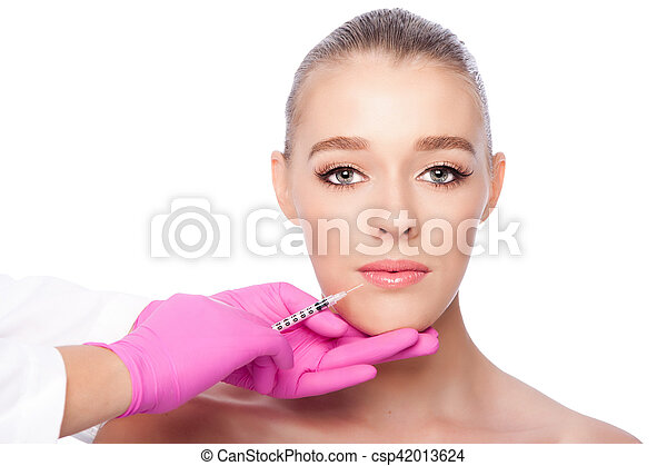 Lip Injection facial spa beauty treatment - csp42013624