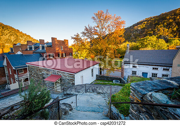 View of historic buildings and autumn color in Harpers Ferry, West Virginia. - csp42031272