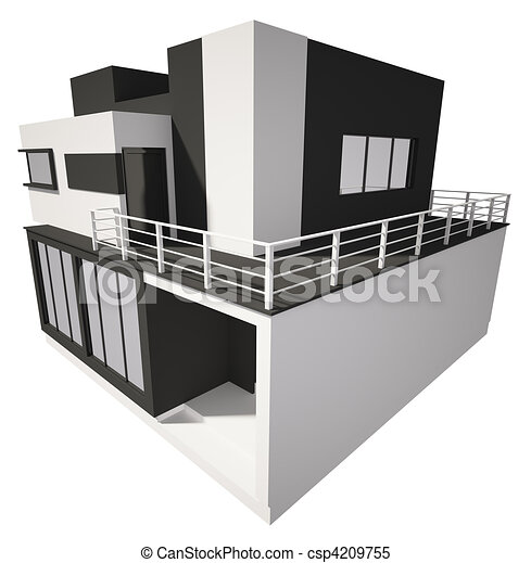 Stock Illustrations of Modern house exterior isolated over white