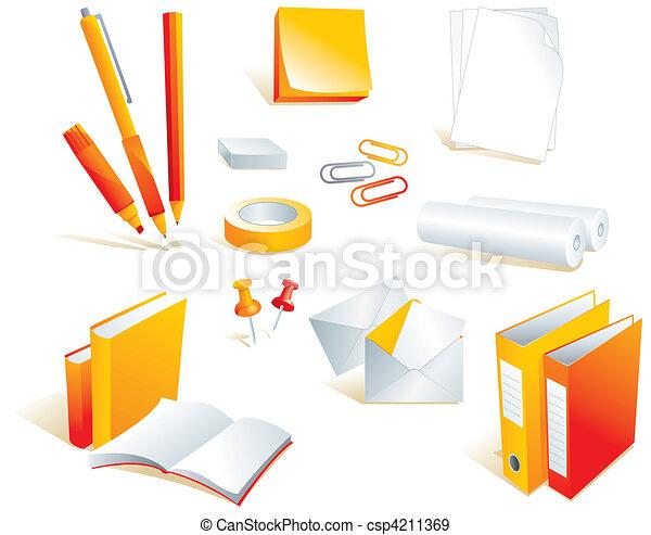 illustration de papeterie fourniture bureau articles papeterie csp4211369 recherchez. Black Bedroom Furniture Sets. Home Design Ideas