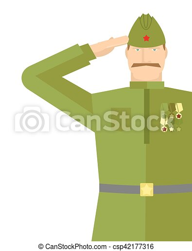 Vector Clip Art of Russian veteran soldiers salute. Retro military ...