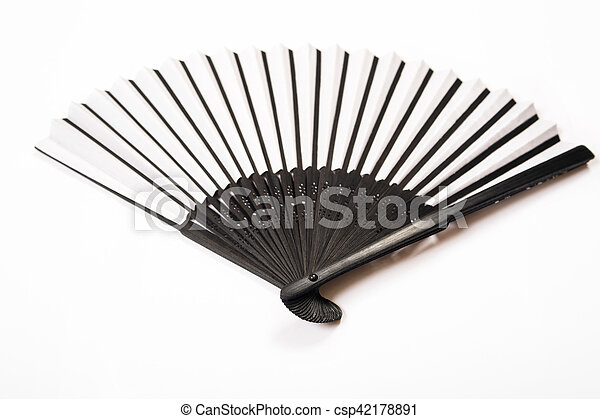 Japanese stylish black/white fan is isolated on a white background