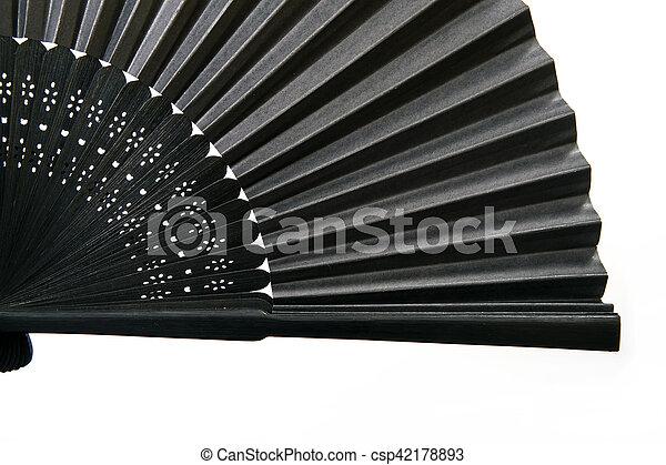 Japanese stylish black fan is isolated on a white background