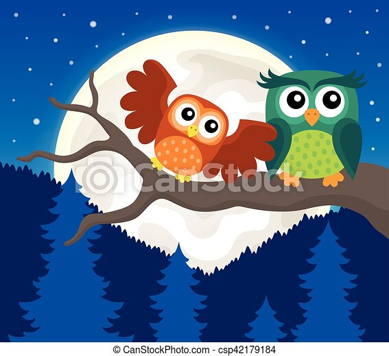 Stylized owls on branch theme image 5 - csp42179184