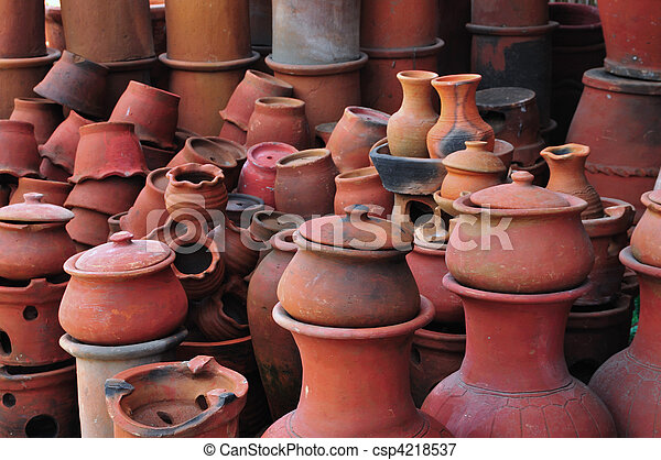 Picture Of Clay Pots And Jars A Pottery Workshop From