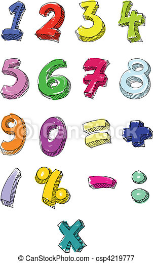 Colorful numbers hand written - csp4219777
