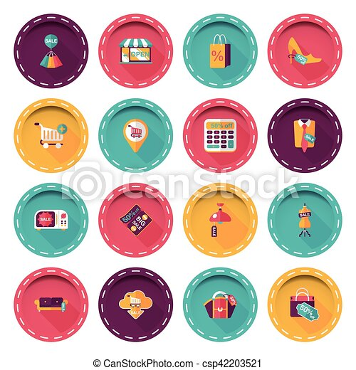 Shopping and online shop icons set - csp42203521