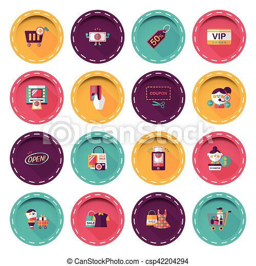 Shopping and online shop icons set - csp42204294