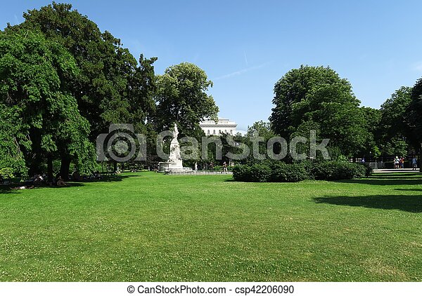 The Park of Hofburg Palace with Mozart Statue in Austria - Vienna - csp42206090