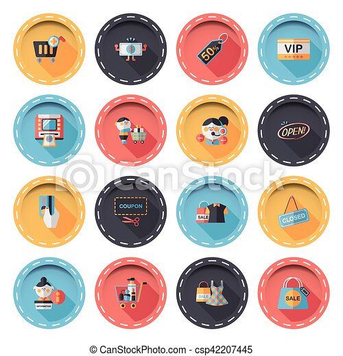 Shopping and online shop icons set - csp42207445