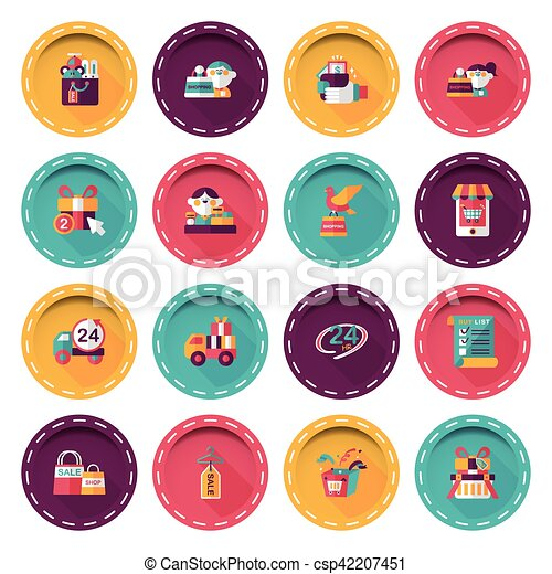 Shopping and online shop icons set - csp42207451