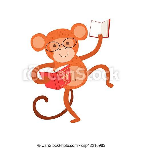 Bücherwurm clipart  Vektor von tragen, tiere, affe, buchausleihe, zeichen, bücherwurm ...