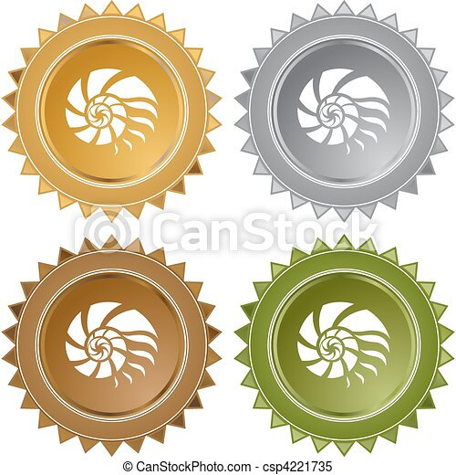 Clipart Vector of Nautilus Shell web button isolated on a ...