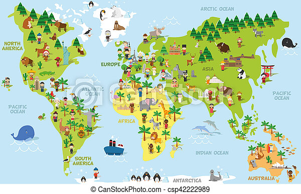 Funny cartoon world map with children of different nationalities funny cartoon world map with children of different nationalities animals and monuments of all the continents and oceans names in spanish gumiabroncs Gallery