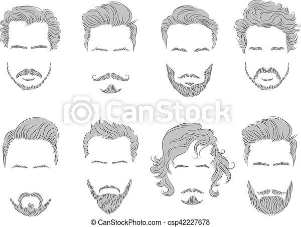 Ensemble Silhouette Cheveux Barbe Moustache Homme 42227678