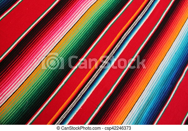 Mexico Mexican traditional cinco de mayo rug poncho fiesta background with stripes - csp42246373
