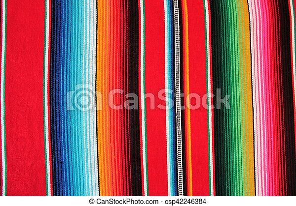 Mexico Mexican traditional cinco de mayo rug poncho fiesta background with stripes - csp42246384