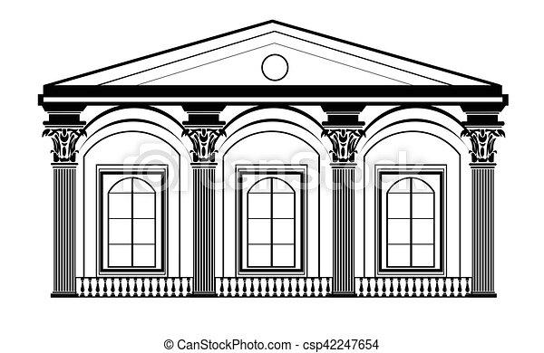 vecteur clipart de fa ade maison architectural classique architectural csp42247654. Black Bedroom Furniture Sets. Home Design Ideas