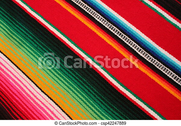 Mexico Mexican traditional cinco de mayo rug poncho fiesta background with stripes - csp42247889