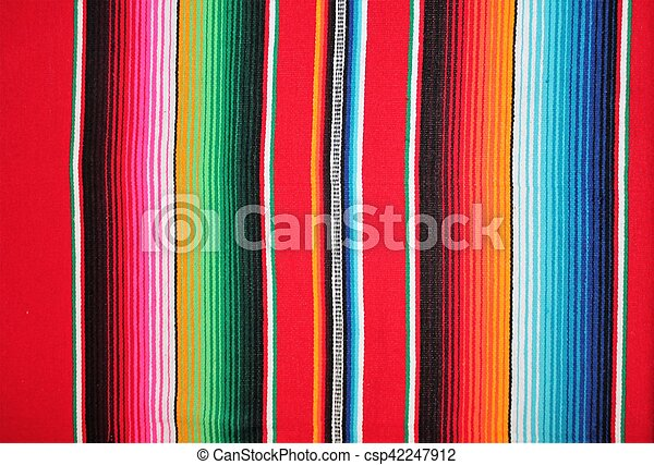 Mexico Mexican traditional cinco de mayo rug poncho fiesta background with stripes - csp42247912