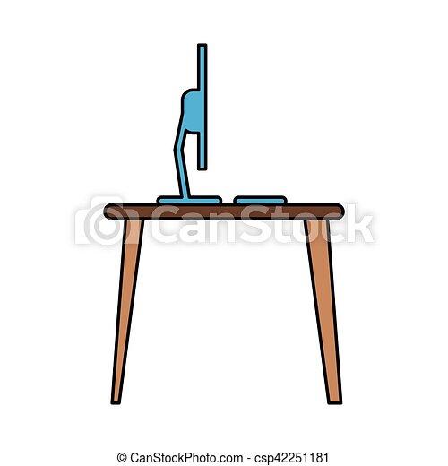 blue laptop desk workplace job graphic - csp42251181