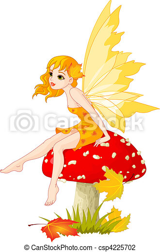 Autumn Fairy on the Mushroom - csp4225702