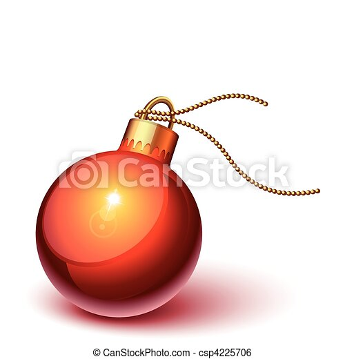 Shiny red christmas ornament - csp4225706