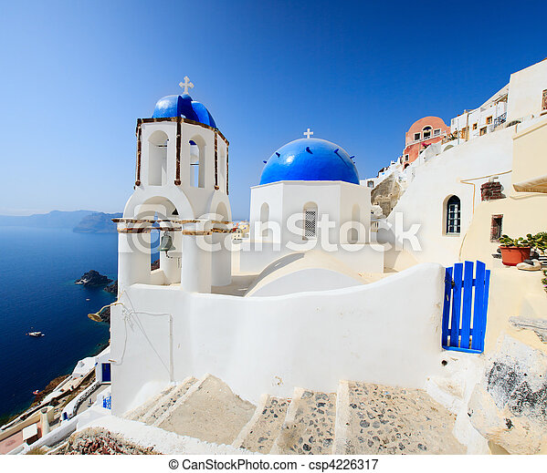 Classical Greek style church in Santorini, Greece - csp4226317
