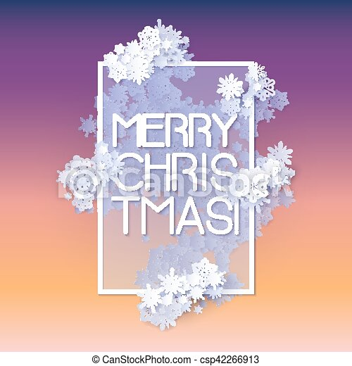 Snow frame with Merry Christmas text. - csp42266913