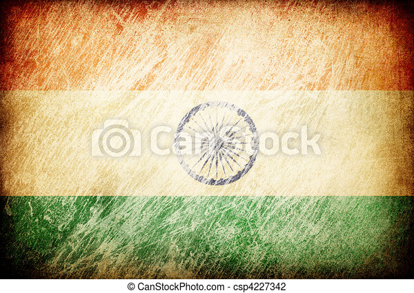 Grunge rubbed flag series of backgrounds. India. - csp4227342