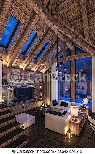 3D rendering of cozy living room on cold winter night in the mountains, evening interior of chalet decorated with candles, fireplace fills the room with warmth.