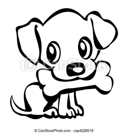 Stock Illustration Af Hundehvalp Bone Outline I En