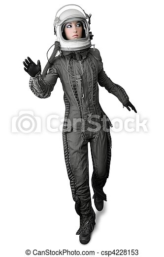astronaut fashion stand woman space suit helmet - csp4228153