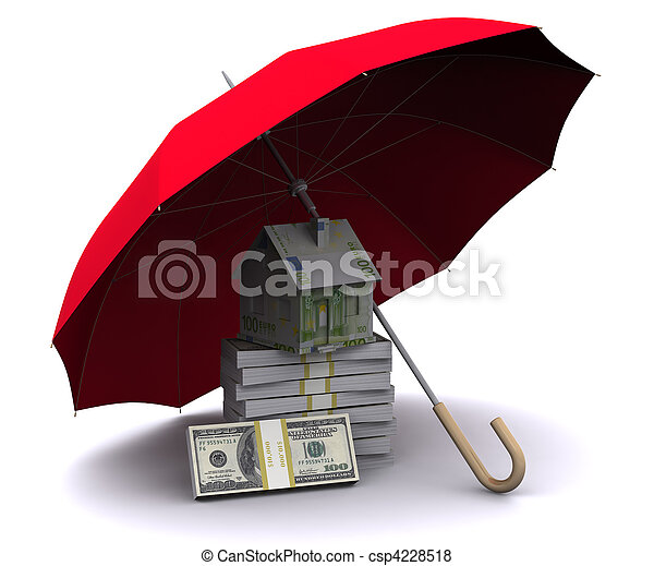 little house with umbrella - csp4228518