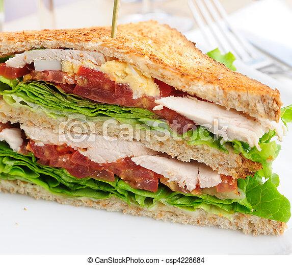 Sandwich-, tocino, pollo, queso, Lechuga - csp4228684