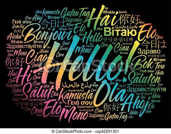 別, 単語, 言語, 世界, こんにちは, 雲 - csp42291301