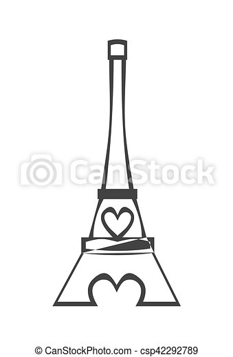 Paris Eiffel Tower Icon with pink heart - csp42292789