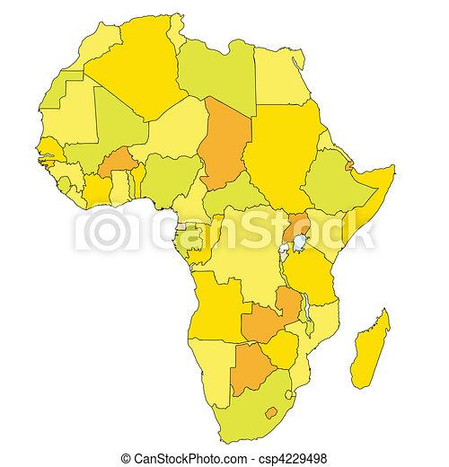 Afryka, mapa, ciepły, Kolor - csp4229498