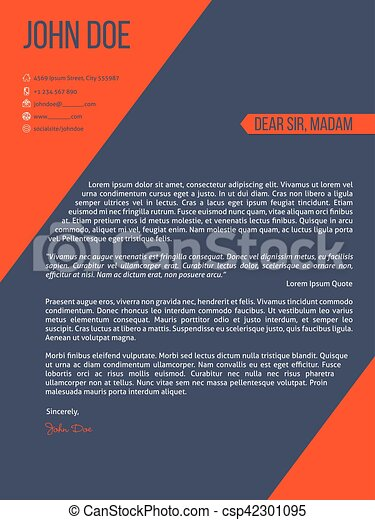 cover letter resume cv template with orange stripes csp42301095