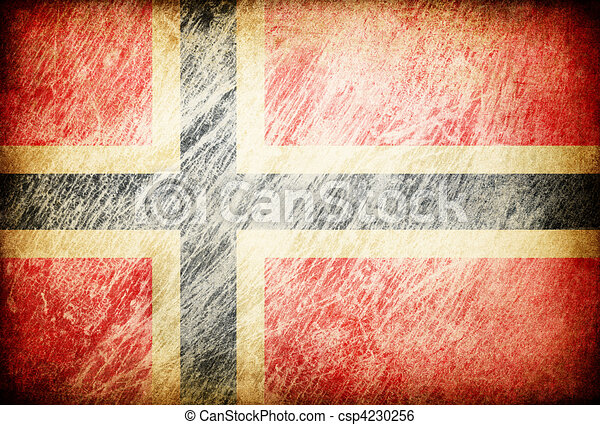 Grunge rubbed flag series of backgrounds. Norway. - csp4230256