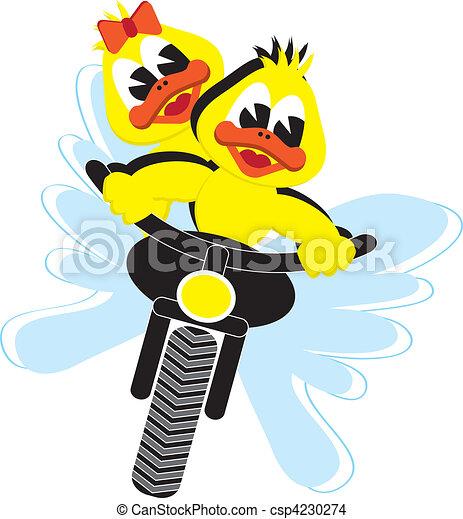 EPS vector de motor, patos - motor, pato, pareja, equitación ...