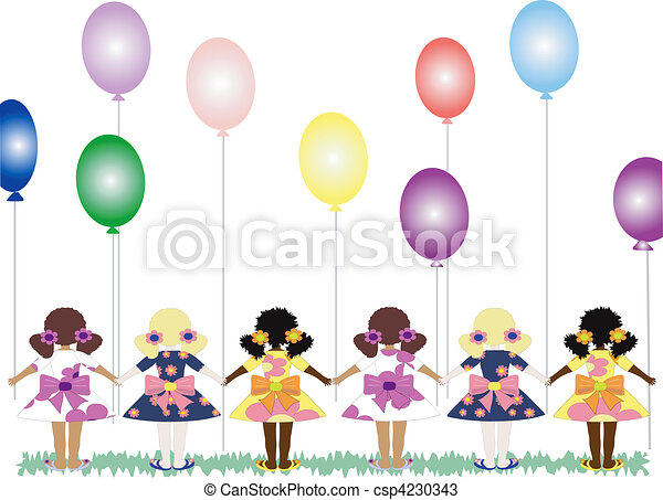 balões, meninas - csp4230343