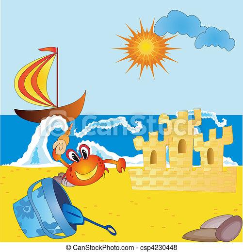 Archivio illustrazioni di spiaggia mare mare spiaggia for Mare clipart