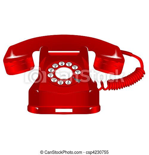 retro red telephone - csp4230755