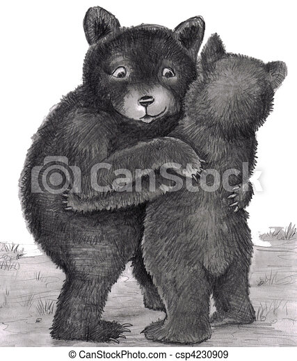 Bear Hug. Two bears hugging out in nature - csp4230909