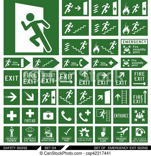 Set of safety signs. Exit signs. - csp42317441