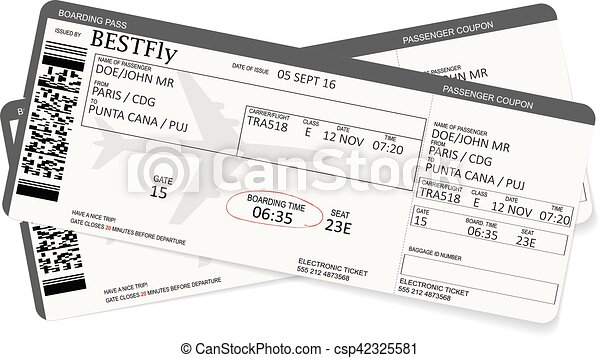 Pattern of airline boarding pass ticket - csp42325581