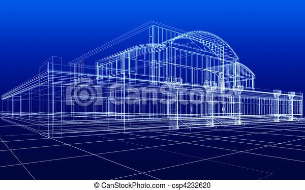 sketch of office building - csp4232620